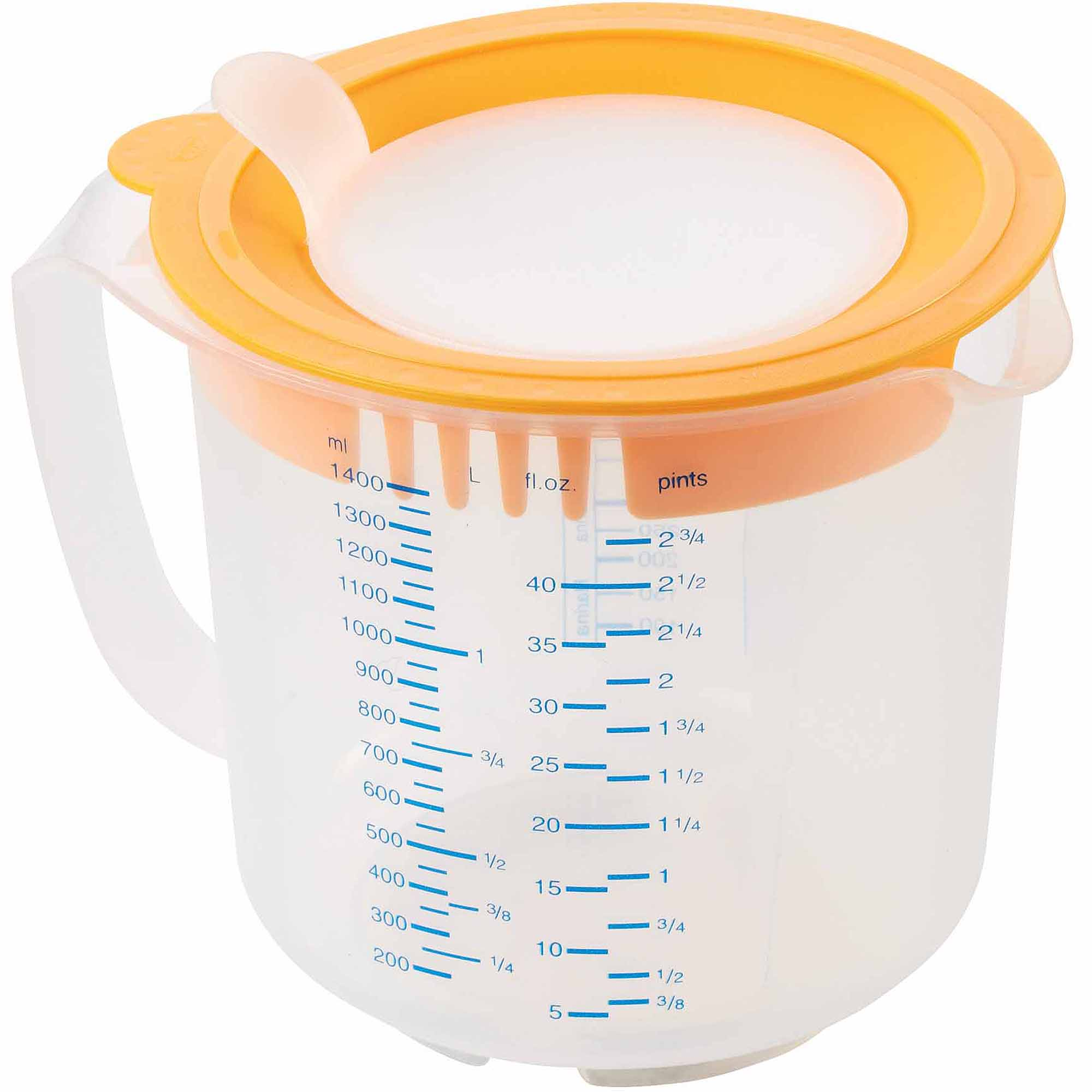 Leifheit 6-Cup 3-in-1 Measuring Cup, Transparent White and Orange
