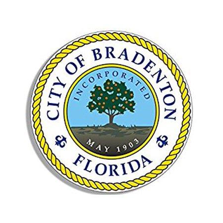 ROUND Bradenton Florida Seal Sticker Decal (fl gulf city) 4 x 4 inch (Party City Bradenton Florida)