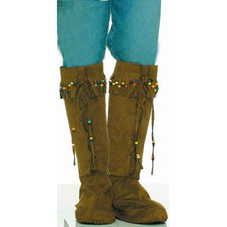 60s Costume Brown Hippie Beaded Boot Tops