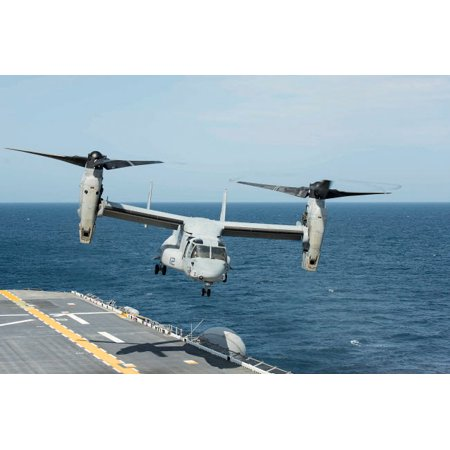 An MV-22B Osprey lands aboard the amphibious assault ship USS Wasp Poster Print by Stocktrek Images (Ship Abroad)