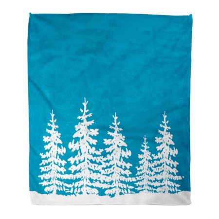 SIDONKU Throw Blanket 58x80 Inches Blue Bright Winter Holidays Christmas Trees Green Celebrate Warm Flannel Soft Blanket for Couch Sofa Bed Winter Blues Light Therapy