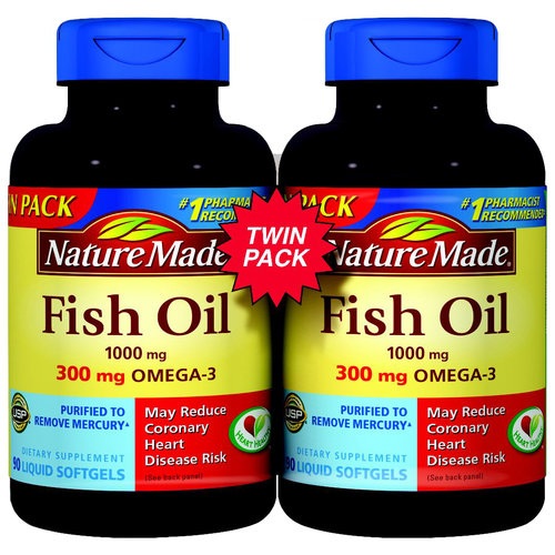 Nature Made Fish Oil Softgels, 1000mg, 90 count, (Pack of 2)