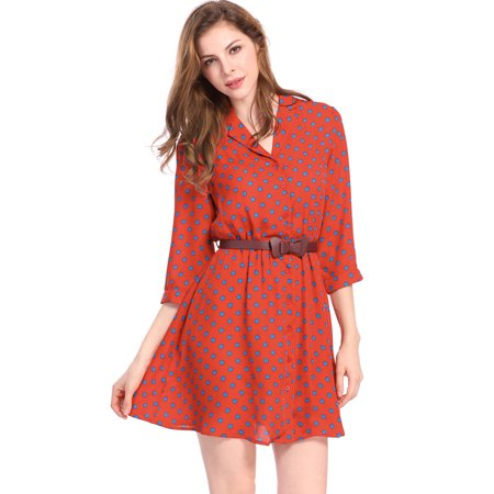 Unique Bargains Women's Belted Polka Dots 3/4 Sleeves Above Knee Shirt Dress - image 7 of 7