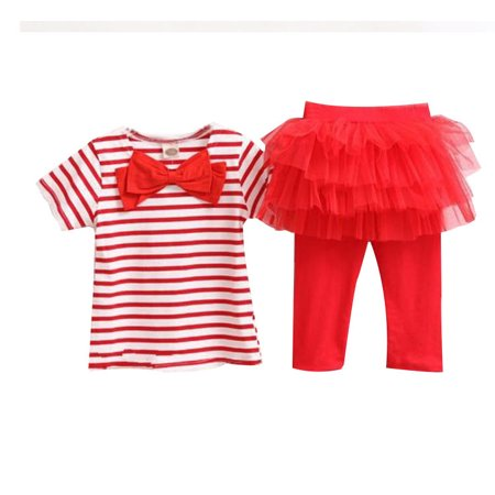Baby Toddler Girl 2 Piece Outfit Stripe Short Sleeve Top with Bow & Tutu Leggings with attached Skirt, Red, Size 2Y
