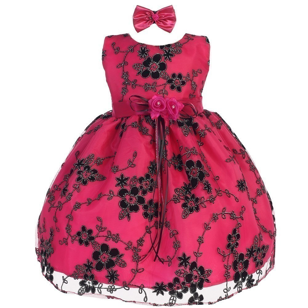 Baby Girls Fuchsia Black Floral Embroidered Hair Bow Flower Girl Dress 12-18M