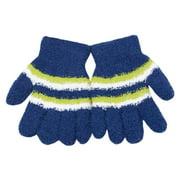 Little Girls Navy White Yellow Striped Fuzzy Gloves