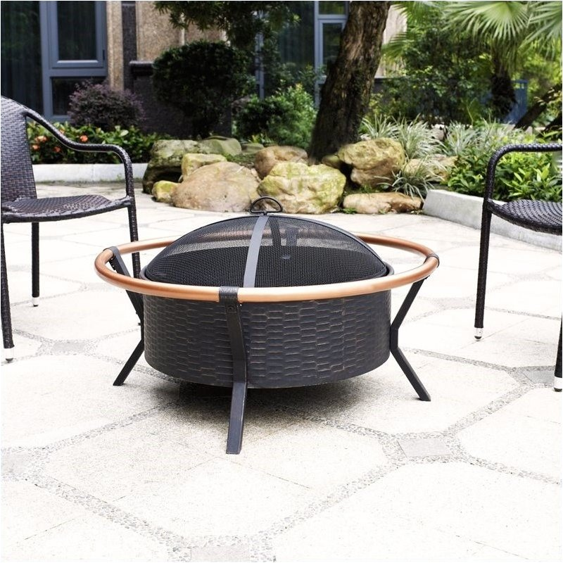Pemberly Row Copper Ring Firepit in Black by Pemberly Row