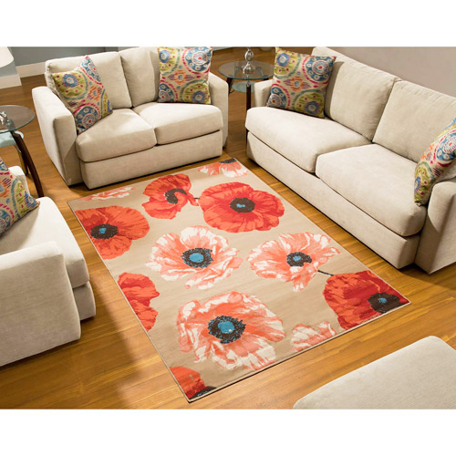 Terra Poppy Rectangle Area Rug Orange Red Tan Walmart Com