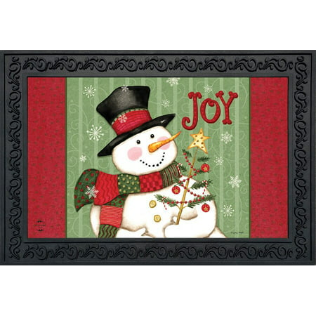 Snowman Joy Christmas Doormat Primitive Holiday Indoor Outdoor 18
