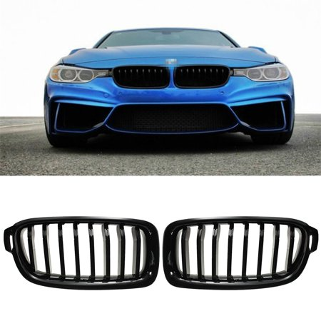Fits For BMW F30 F31 3-Series 2012-2017 Gloss Black Front Hood Kidney Grille Grills