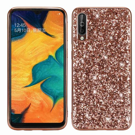 Dteck Case For Samsung Galaxy A10, Luxury Bling Sparkle Hard PC Girls Women Cover Soft TPU Bumper Shockproof Glitter Case, Rosegold Sparkle Hard Case