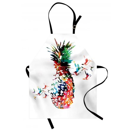 - Pineapple Apron Geometric Pineapple Bursting into Scattering Birds Flight Modern Abstract Print, Unisex Kitchen Bib Apron with Adjustable Neck for Cooking Baking Gardening, Multicolor, by Ambesonne