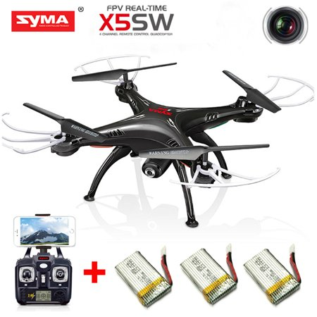 Cheerwing Syma X5SW UAV FPV 2.4Ghz 4CH 6-Axis Gyro RC Qucopter Drone UFO Headless Mode with 0.3MP HD Wifi Camera Support IOS Android RTF Black+3 Batteries