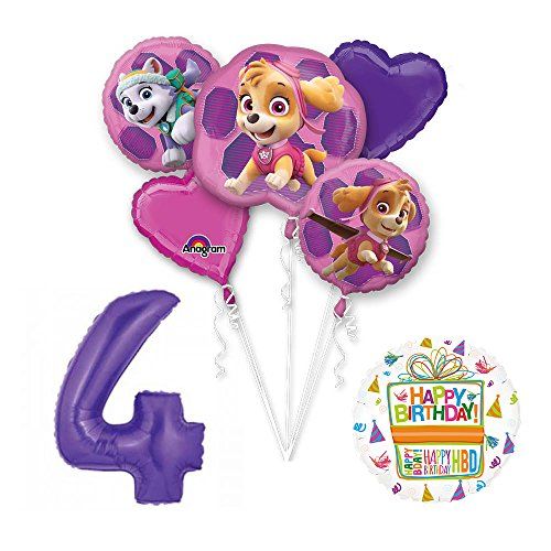 PAW PATROL SKYE & EVEREST 4th Birthday Party Balloons Supplies Chase Ryder