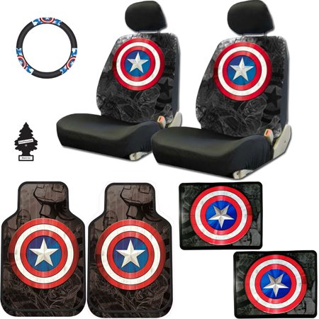 (New Design 10 Pieces Marvel Comic Captain America Car Seat Covers Floor Mats and Steering Wheel Cover Set with Air Freshener)