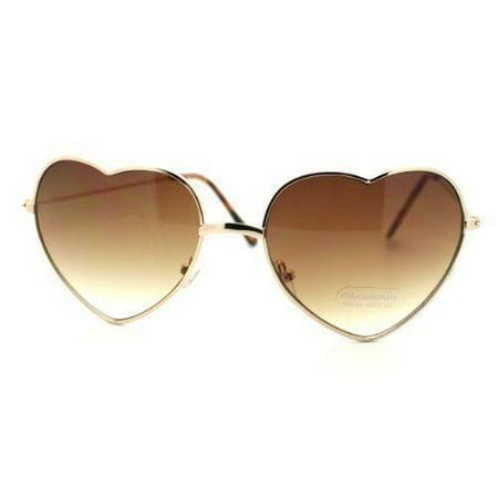 Vintage Fashion Lolita Gold Heart Shaped Metal Frame Women (Heart Shaped Sunglasses Metal Frame)
