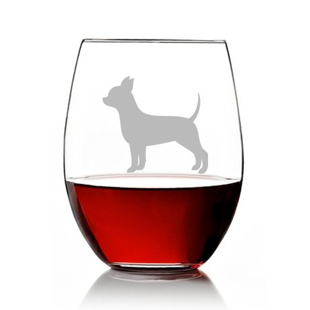 Chihuahua Dog Breed Engraved Stemless 15oz Wine Glass (Engraved Crystal Wine Glasses)