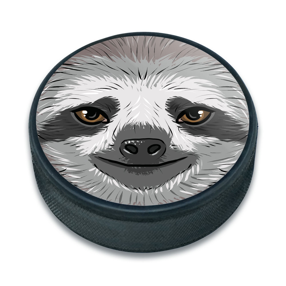 Sloth Face Ice Hockey Puck