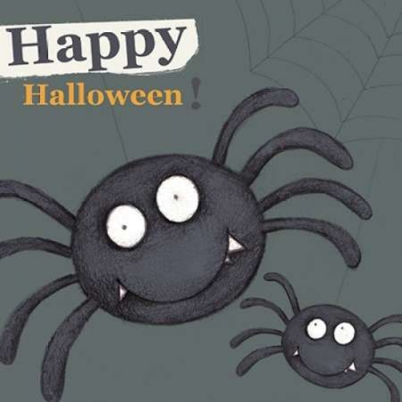 Happy Halloween Spider Poster Print by PS Art Studios - Funny Happy Halloween Posters