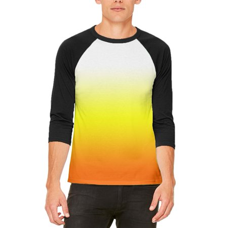 Halloween Candy Corn Ombre Costume Mens Raglan T Shirt](Halloween Popcorn Candy Corn Hands)