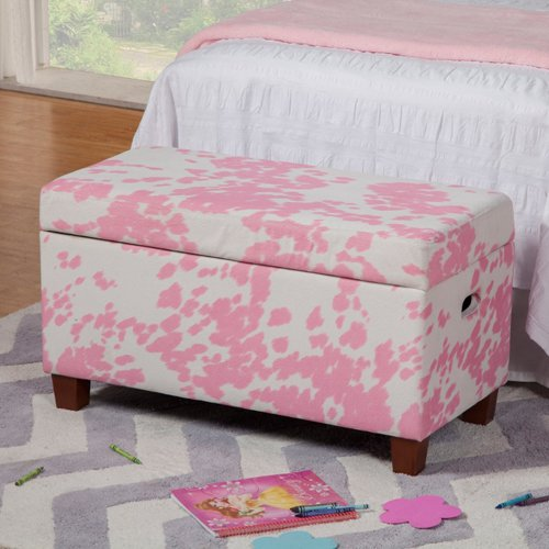 Kinfine Pink Moo Moo Kids Storage Bench by HomePop