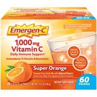 Emergen-C 1000mg Vitamin C Powder, with Antioxidants, B Vitamins and Electrolytes for Immune Support, Caffeine Free Vitamin C Supplement Fizzy Drink Mix, Super Orange Flavor - 60 Count/2 Month Supply