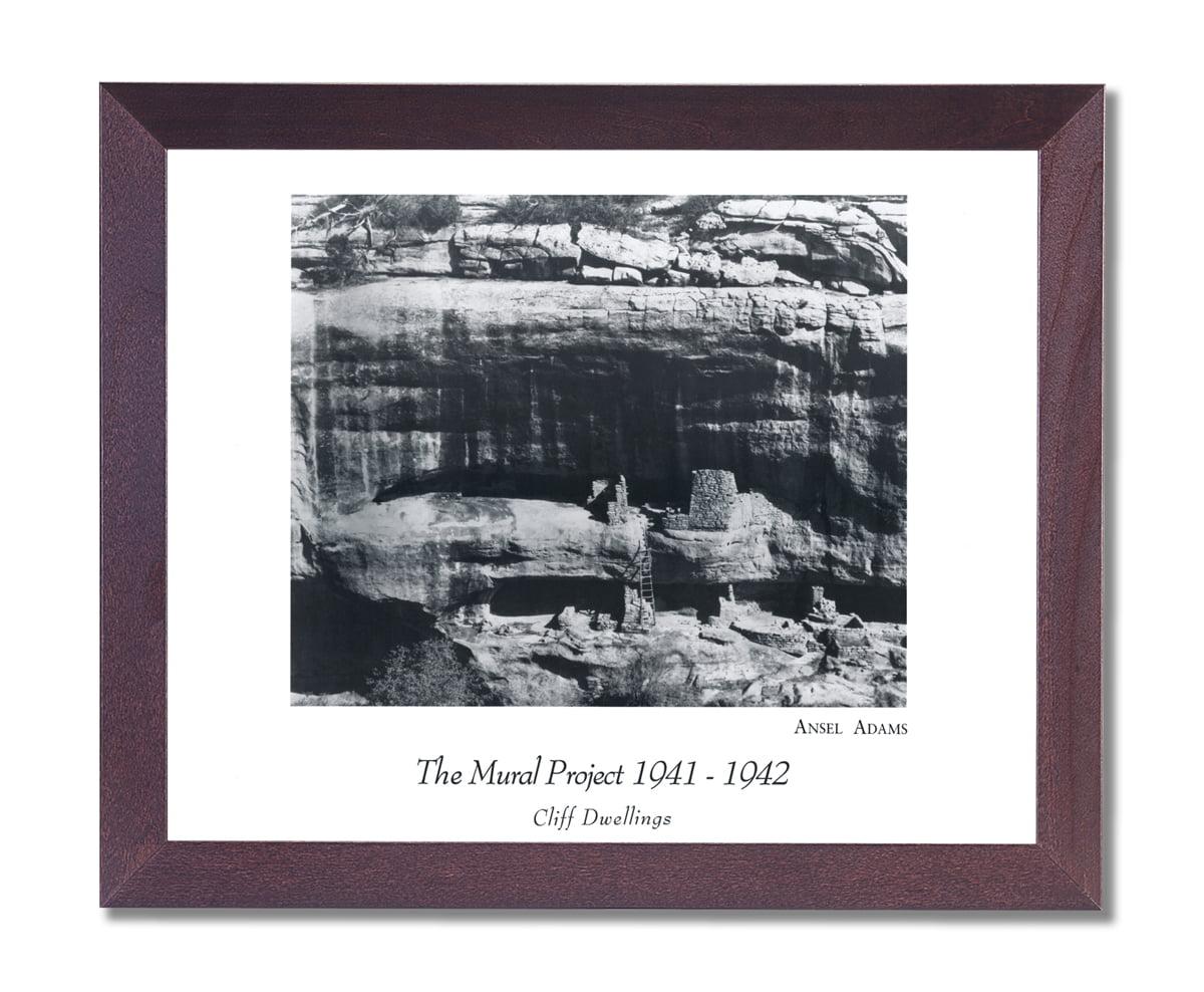 Ansel Adams B W Photo Cliff Dwelling Wall Picture Cherry Framed Artwork Print by Art Print Designs, LLC