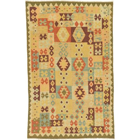 - Isabelline One-of-a-Kind Elland Hand-Knotted 3'10'' x 6'1'' Wool Tan/Blue/Brown Area Rug