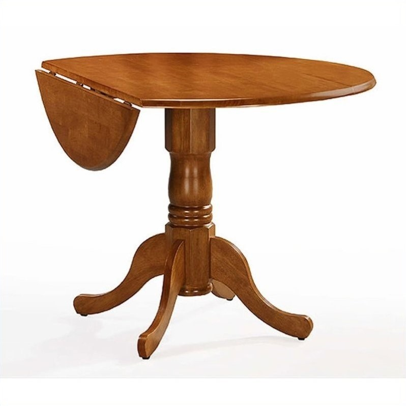 "Pemberly Row - Round 42"" Dual Drop Leaf Dining Table in Oak Finish"