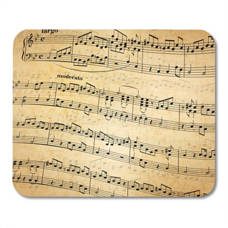 SIDONKU Sheet Music Notes on Stave Abstract Old Paper Background Vintage Mousepad Mouse Pad Mouse Mat 9x10 inch - Sheet Music Background