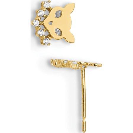 14k Yellow Gold Madi K Childrens Cat w/CZ Collar Post (6.53x6.8mm) Earrings - image 2 of 2