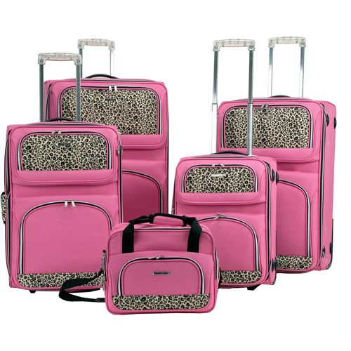 Rockland Luggage 5-Piece Rolling Upright Luggage Set, Pink ...