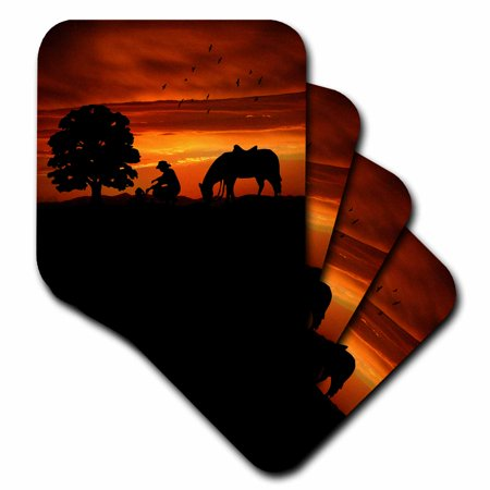 3dRose Cowboy Campfire with Horse on a Hill at Sunset has a Western feel., Soft Coasters, set of 4