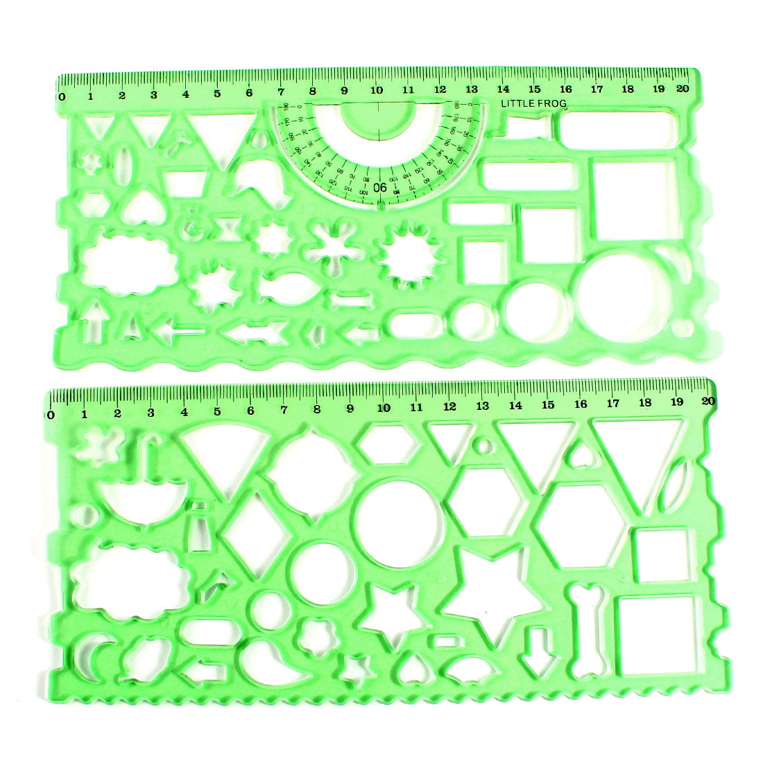 Unique Bargains 2pcs Student Teacher Clear Green Learning Drawing Template Ruler Guide by