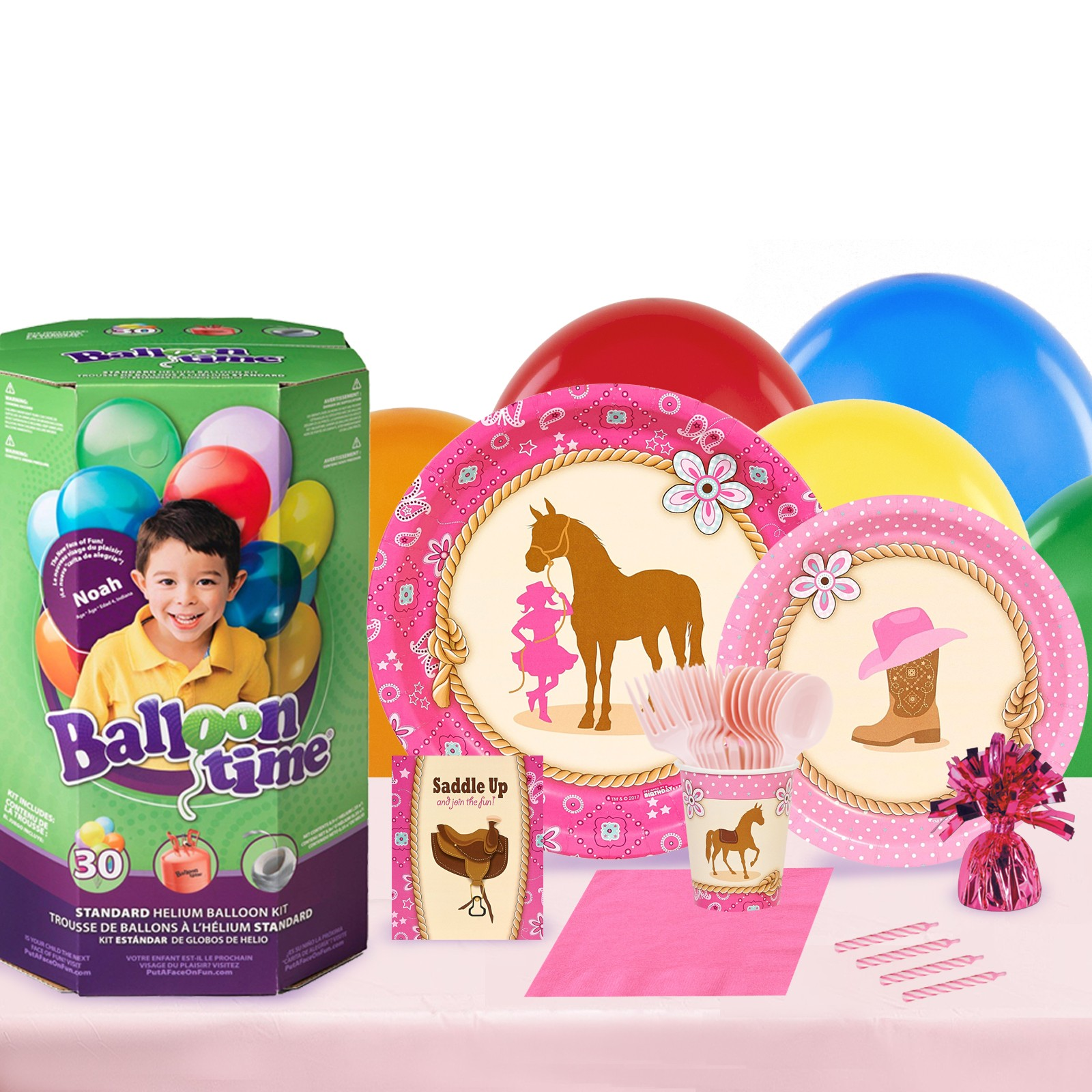 Western Cowgirl 16 Guest Party Pack and Helium Kit