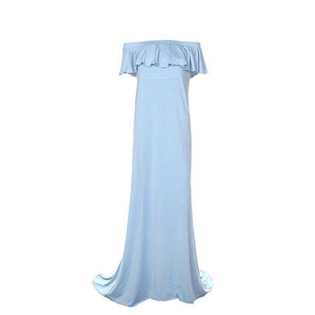 617a20ec89ce DYMADE - DYMADE Women's Off Shoulder Ruffles Maternity Slim Fit Gown Maxi  Photography Dress - Walmart.com