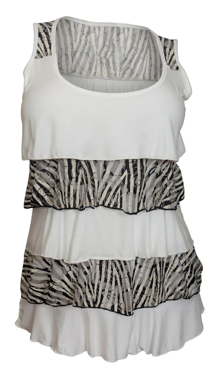 eVogues Plus Size Tiered Ruffle Tank Top Zebra Print White