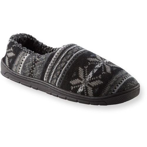 Muk Luks John Men's Knit Snowflake Slippers Shoes Fleece Lined Size S 8-9