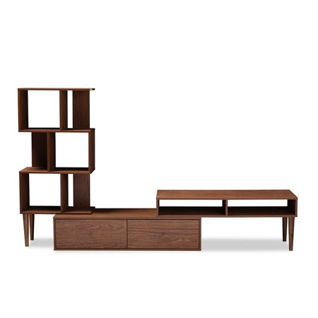 Entertainment Center Unit - Baxton Studio Haversham Mid-century Retro Modern TV Stand Entertainment Center and Display Unit