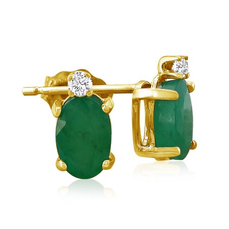 1.40ct Oval Emerald and Diamond Earrings in 14k Yellow Gold