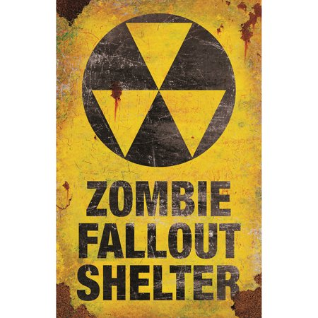 Morris Costumes Metal Sign Zombie Fallout Shel, Style - Fallout Costume For Sale