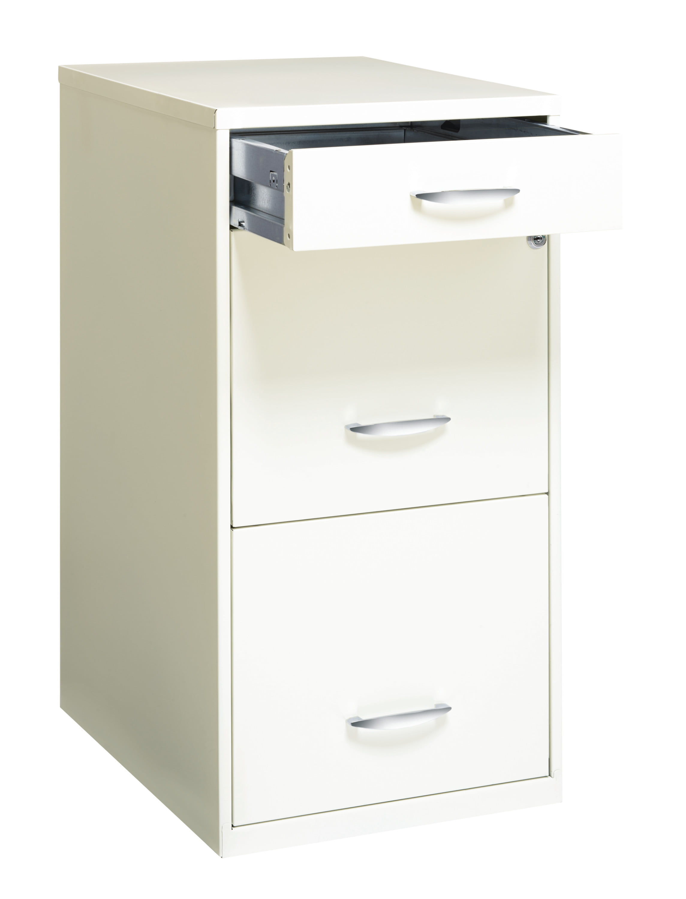 Space Solutions 34 Drawer File Cabinet with Pencil Drawer, Pearl White