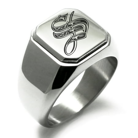 Initial Signet Ring - Stainless Steel Letter S Initial Royal Monogram Engraved Engraved Square Flat Top Biker Style Polished Signet Ring