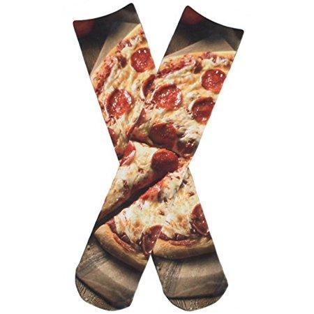 Women's Girls Lightweight Knit 3D Cool Printed Food Crew Tube Socks One size fits all Pizza - Graduation Socks
