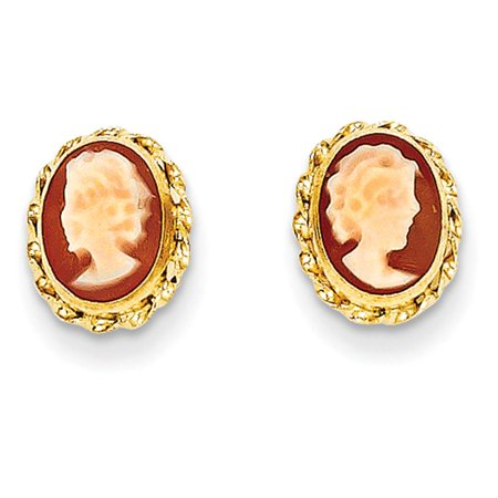 14k Yellow Gold Childrens Madi k Polished Bezel Cameo Post Earrings 9mm x 8mm