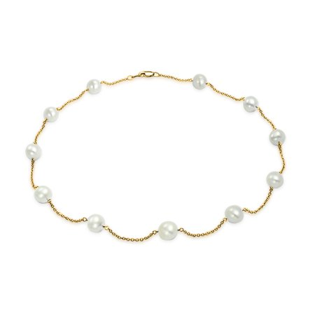 Simple Real 14K Yellow Gold Tin Cup White Freshwater Cultured Pearl Necklace For Women 16 Inch 14k White Gold Tin Cup
