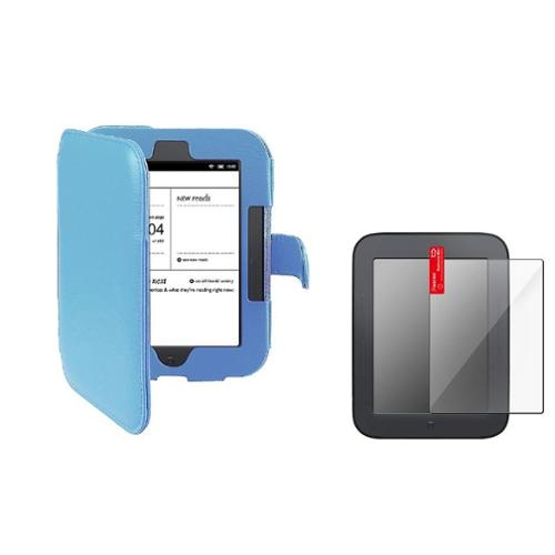 Insten Blue Flap Cover-up Wallet Leather Case + Protector for Barnes & Noble NOOK Simple Touch w/ GlowLight