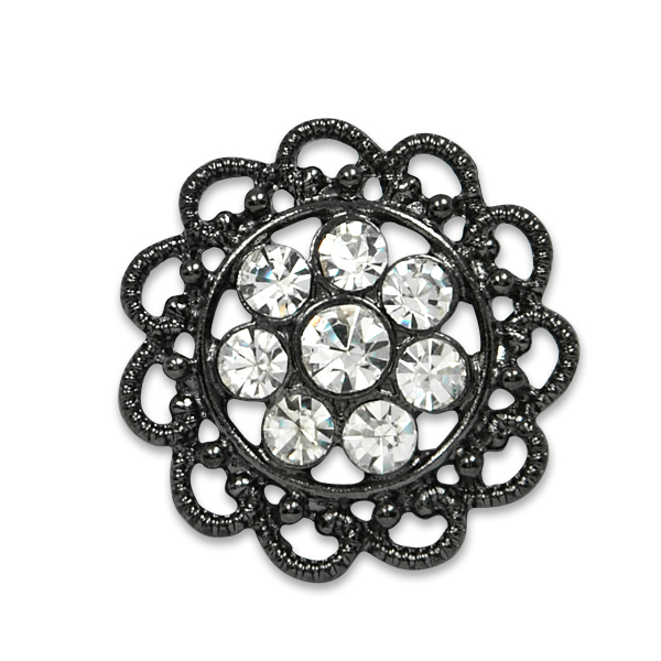 "Expo Int'l 1 1/4"" Vintage Flower Filigree Rhinestone Button"