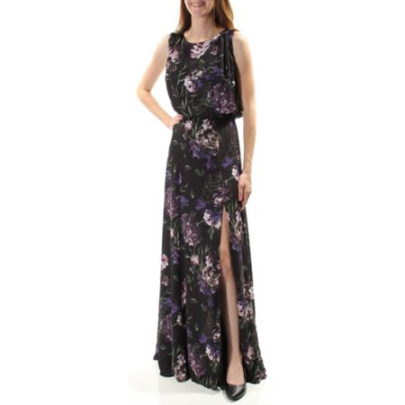 Fame and Partners Black Purple Floral Print Maxi Blouson Dress, Multi, 6