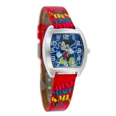 Disney #41561B Women's Mickey Mouse Watch With Red Leather Band